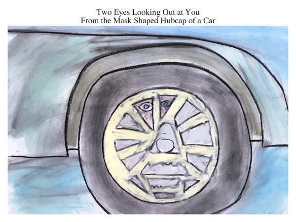 Two Eyes Looking Out at You From the Mask Shaped Hubcap of a Car