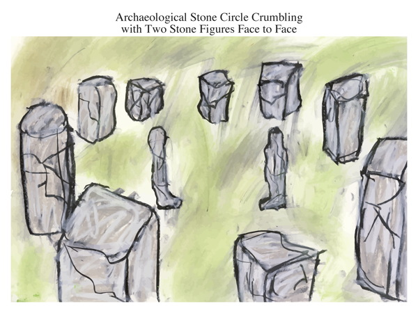 Archaeological Stone Circle Crumbling with Two Stone Figures Face to Face