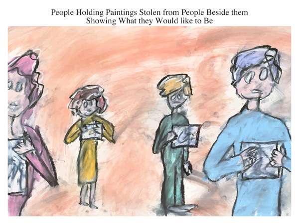 People Holding Paintings Stolen from People Beside them Showing What they Would like to Be