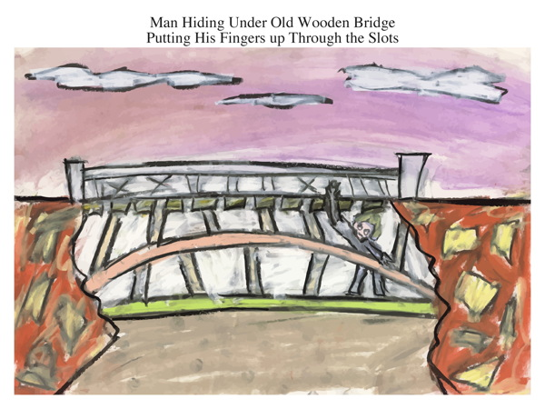 Man Hiding Under Old Wooden Bridge Putting His Fingers up Through the Slots