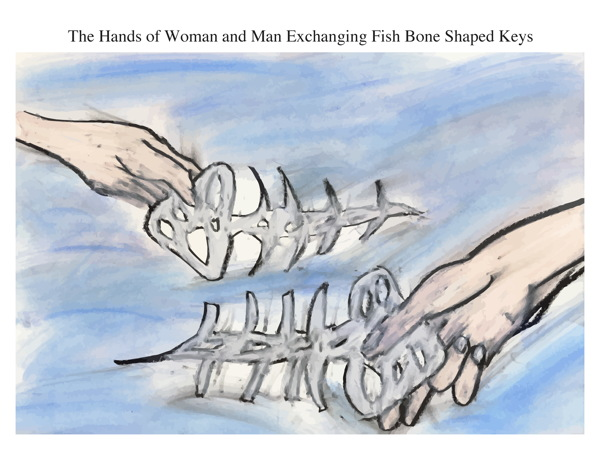 The Hands of Woman and Man Exchanging Fish Bone Shaped Keys