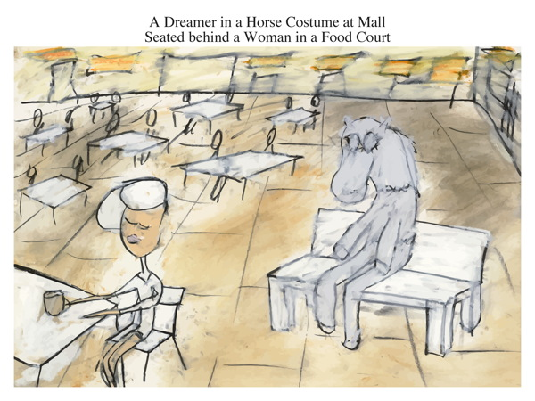 A Dreamer in a Horse Costume at Mall Seated behind a Woman in a Food Court