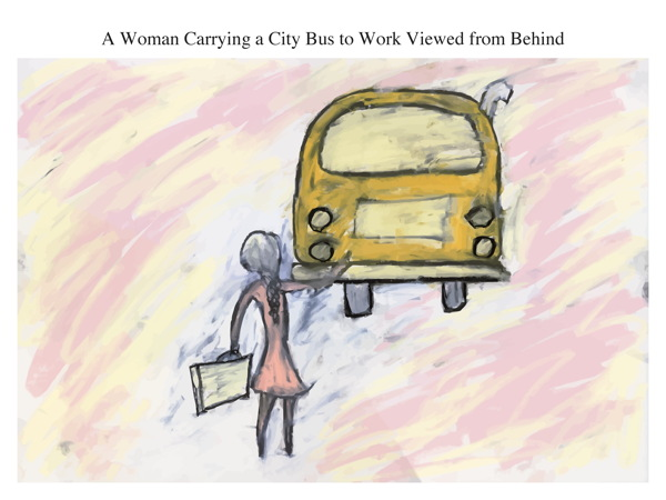 A Woman Carrying a City Bus to Work Viewed from Behind