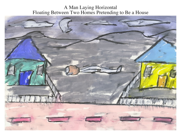 A Man Laying Horizontal Floating Between Two Homes Pretending to Be a House