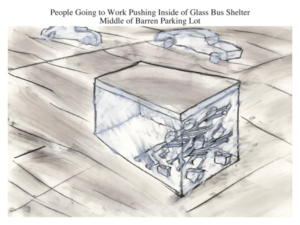 People Going to Work Pushing Inside of Glass Bus Shelter Middle of Barren Parking Lot
