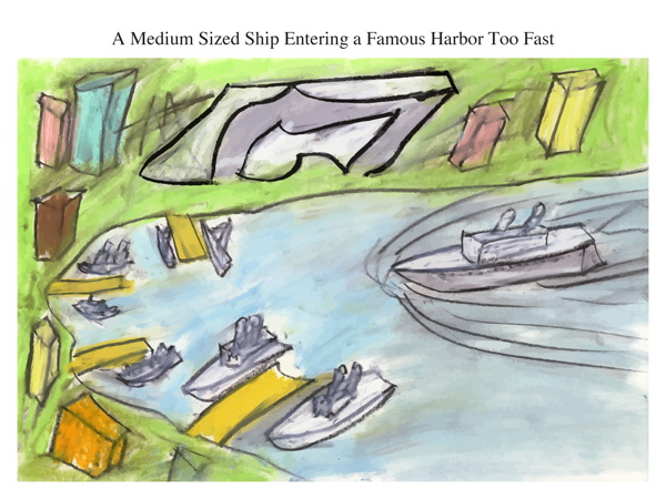 A Medium Sized Ship Entering a Famous Harbor Too Fast
