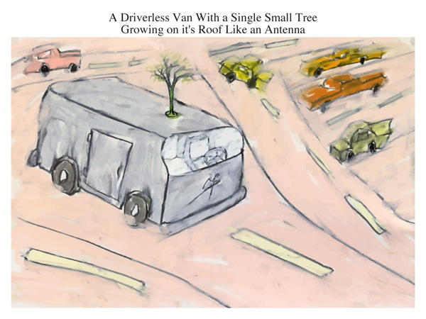A Driverless Van With a Single Small Tree Growing on it's Roof Like an Antenna