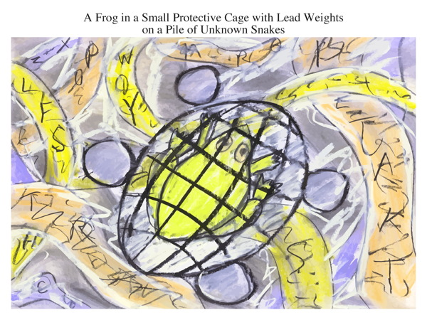 A Frog in a Small Protective Cage with Lead Weights on a Pile of Unknown Snakes