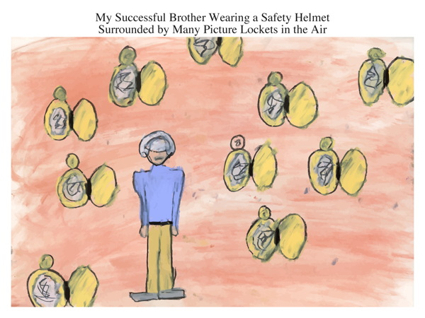 My Successful Brother Wearing a Safety Helmet Surrounded by Many Picture Lockets in the Air