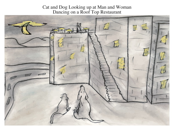 Cat and Dog Looking up at Man and Woman Dancing on a Roof Top Restaurant