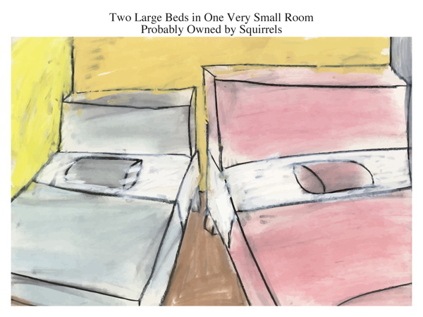 Two Large Beds in One Very Small Room Probably Owned by Squirrels