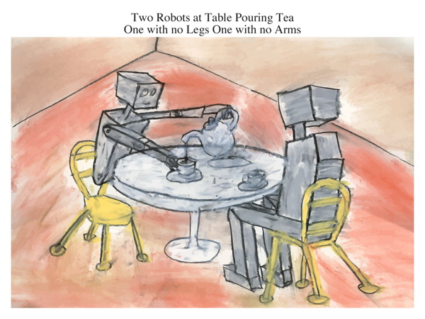 Two Robots at Table Pouring Tea One with no Legs One with no Arms