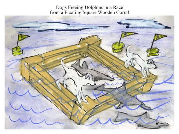 Dogs Freeing Dolphins in a Race from a Floating Square Wooden Corral