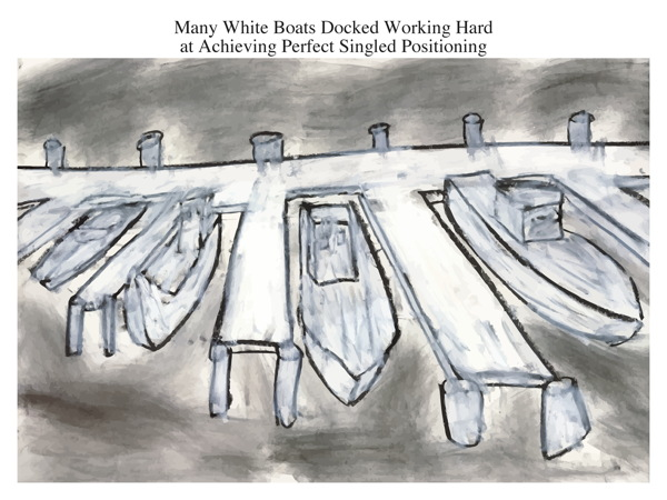 Many White Boats Docked Working Hard at Achieving Perfect Singled Positioning