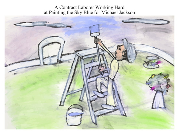 A Contract Laborer Working Hard at Painting the Sky Blue for Michael Jackson