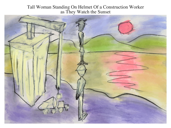 Tall Woman Standing On Helmet Of a Construction Worker as They Watch the Sunset
