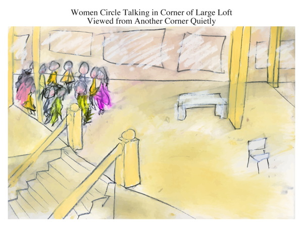 Women Circle Talking in Corner of Large Loft Viewed from Another Corner Quietly
