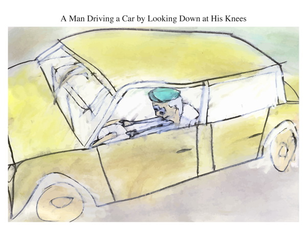 A Man Driving a Car by Looking Down at His Knees