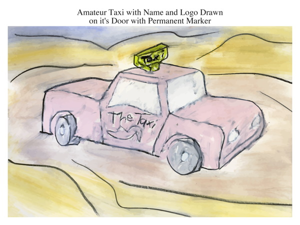 Amateur Taxi with Name and Logo Drawn on it's Door with Permanent Marker