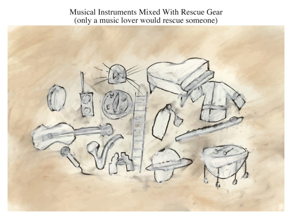 Musical Instruments Mixed With Rescue Gear (only a music lover would rescue someone)