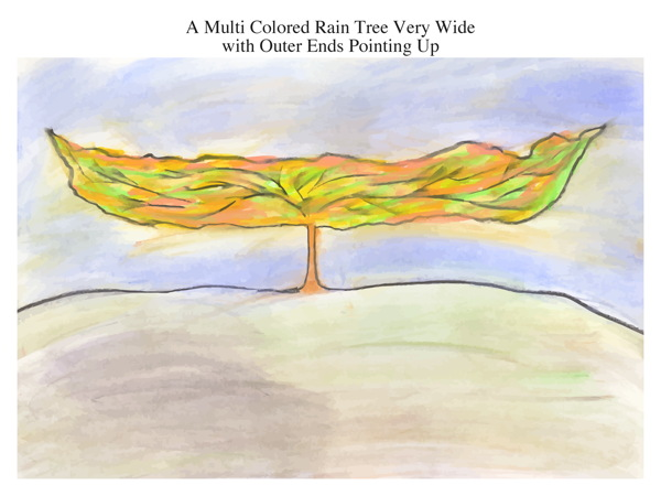 A Multi Colored Rain Tree Very Wide with Outer Ends Pointing Up