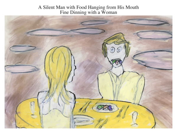 A Silent Man with Food Hanging from His Mouth Fine Dinning with a Woman