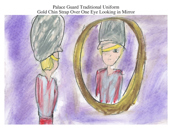 Palace Guard Traditional Uniform Gold Chin Strap Over One Eye Looking in Mirror