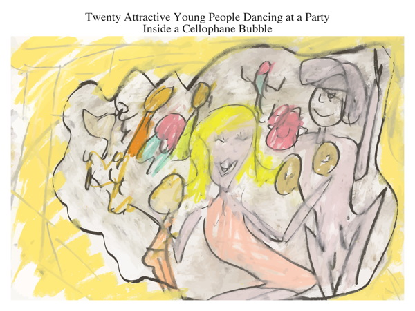 Twenty Attractive Young People Dancing at a Party Inside a Cellophane Bubble