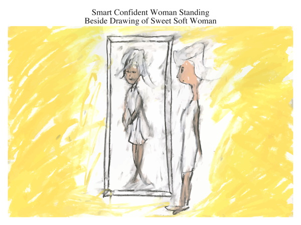 Smart Confident Woman Standing Beside Drawing of Sweet Soft Woman