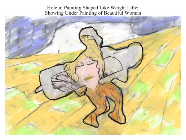 Hole in Painting Shaped Like Weight Lifter Showing Under Painting of Beautiful Woman