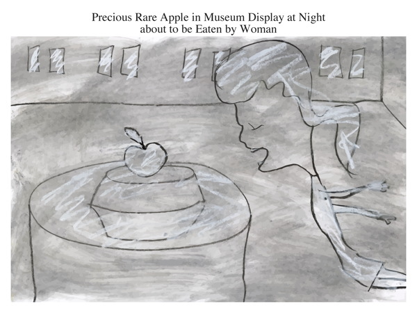 Precious Rare Apple in Museum Display at Night about to be Eaten by Woman