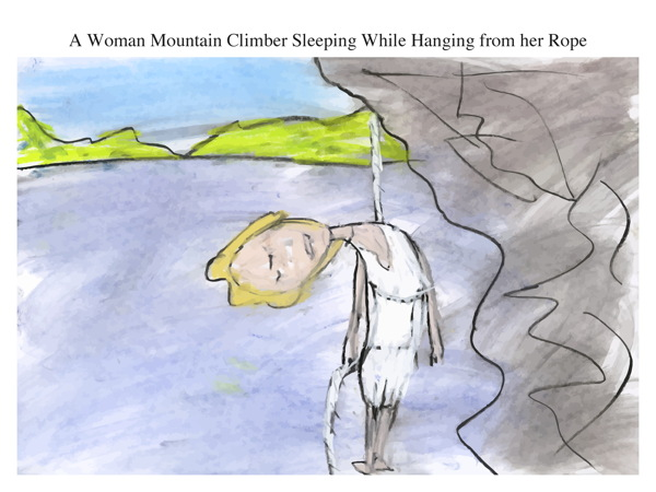 A Woman Mountain Climber Sleeping While Hanging from her Rope