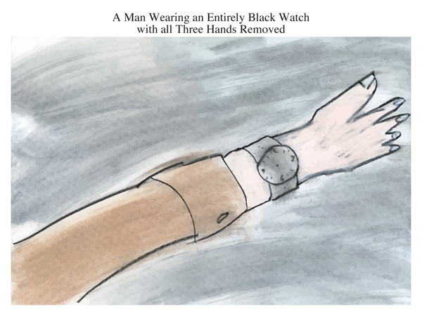 A Man Wearing an Entirely Black Watch with all Three Hands Removed