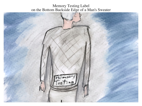 Memory Testing Label on the Bottom Backside Edge of a Man's Sweater