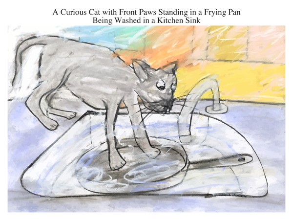 A Curious Cat with Front Paws Standing in a Frying Pan Being Washed in a Kitchen Sink