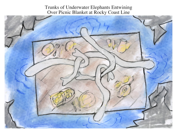 Trunks of Underwater Elephants Entwining Over Picnic Blanket at Rocky Coast Line