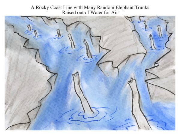 A Rocky Coast Line with Many Random Elephant Trunks Raised out of Water for Air