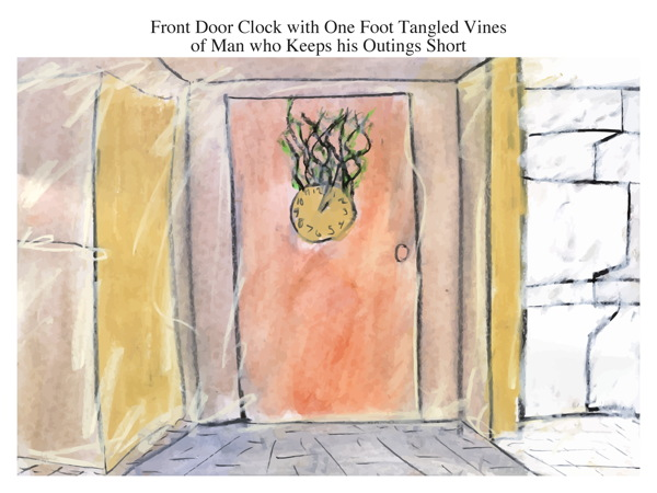 Front Door Clock with One Foot Tangled Vines of Man who Keeps his Outings Short