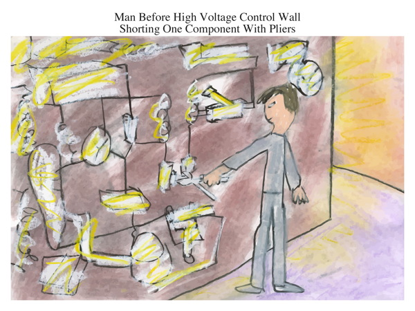Man Before High Voltage Control Wall Shorting One Component With Pliers
