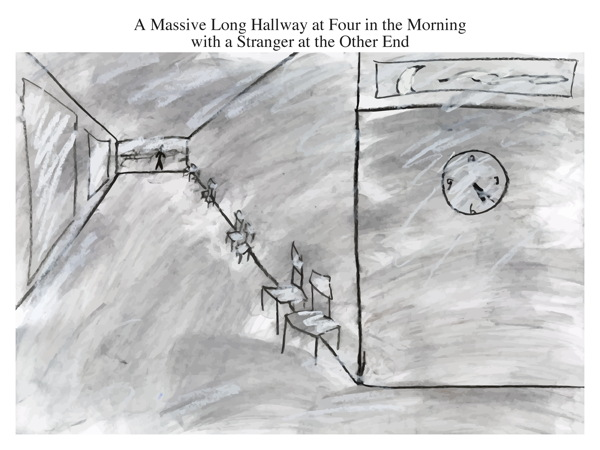 A Massive Long Hallway at Four in the Morning with a Stranger at the Other End