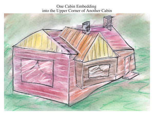 One Cabin Embedding into the Upper Corner of Another Cabin