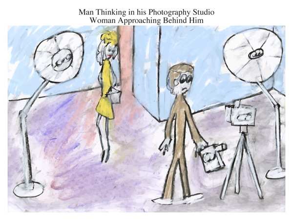 Man Thinking in his Photography Studio Woman Approaching Behind Him