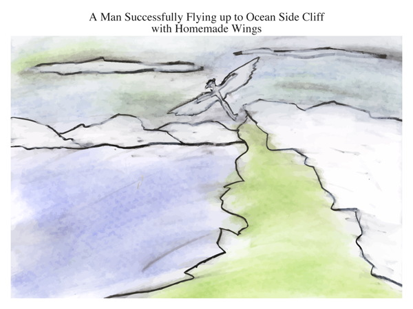A Man Successfully Flying up to Ocean Side Cliff with Homemade Wings