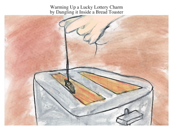 Warming Up a Lucky Lottery Charm by Dangling it Inside a Bread Toaster