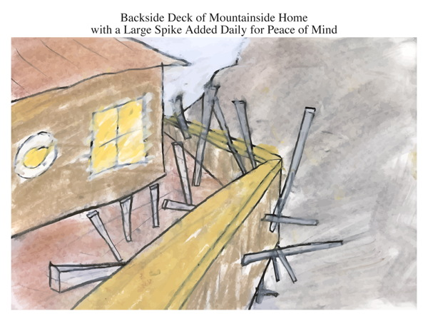 Backside Deck of Mountainside Home with a Large Spike Added Daily for Peace of Mind