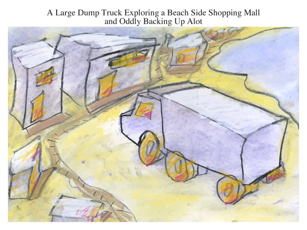 A Large Dump Truck Exploring a Beach Side Shopping Mall and Oddly Backing Up Alot