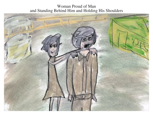 Woman Proud of Man and Standing Behind Him and Holding His Shoulders