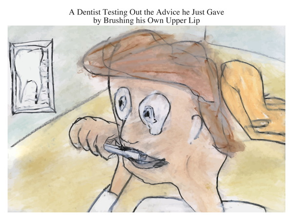 A Dentist Testing Out the Advice he Just Gave by Brushing his Own Upper Lip