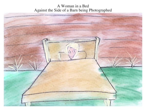 A Woman in a Bed Against the Side of a Barn being Photographed