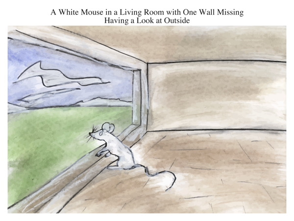 A White Mouse in a Living Room with One Wall Missing Having a Look at Outside